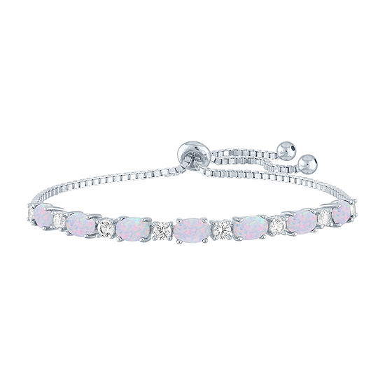 Lab Created White Opal Sterling Silver Bolo Bracelet