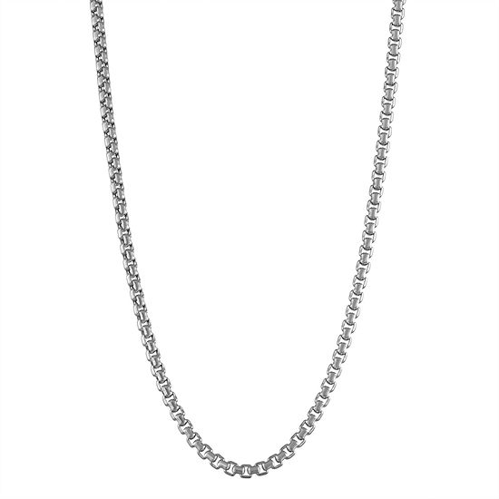 14K White Gold Hollow Box Chain Necklace