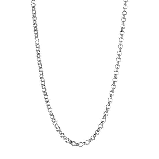 14K White Gold Hollow Cable Chain Necklace