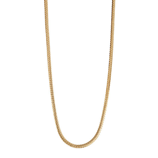 14K Gold Hollow Herringbone Chain Necklace