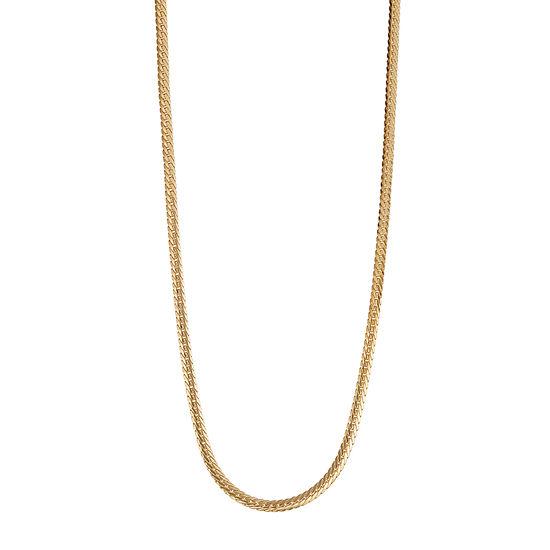 14k Gold Hollow Herringbone Chain Necklace