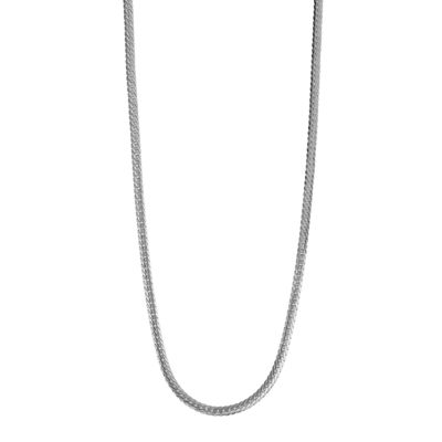 14K White Gold Hollow Herringbone Chain Necklace