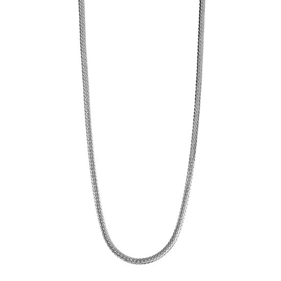 14K White Gold Hollow Herringbone Chain Necklace