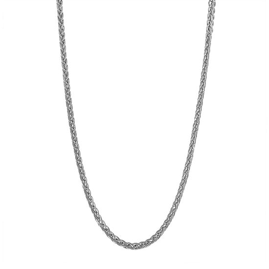 14K White Gold Hollow Wheat Chain Necklace