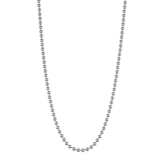14K White Gold Hollow Bead Chain Necklace