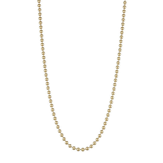 14K Gold Hollow Bead Chain Necklace