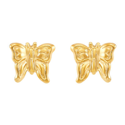14K Gold 6.6mm Butterfly Stud Earrings