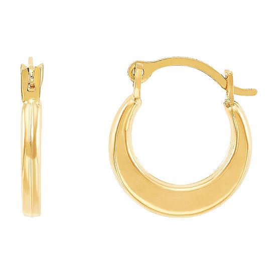 14K Gold 12mm Round Hoop Earrings