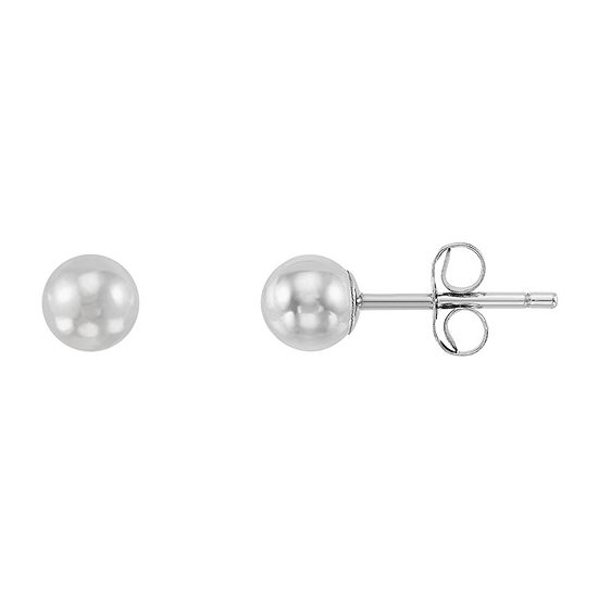 10K White Gold 4mm Round Stud Earrings