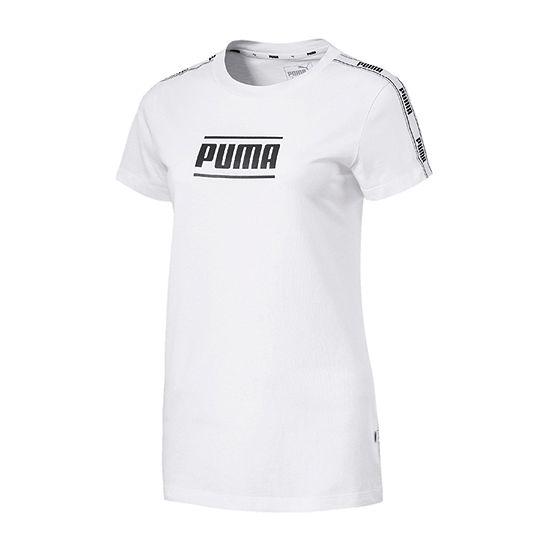 Puma Womens Crew Neck Short Sleeve Graphic T Shirt