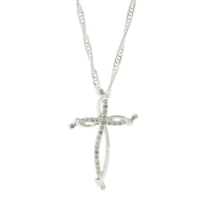 Sparkle Allure™ Pure Silver-Plated Cubic Zirconia Cross Pendant Necklace