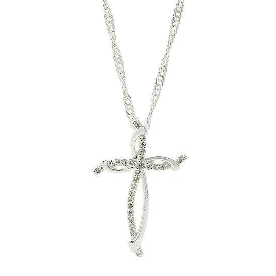 Sparkle Allure™ Pure Silver-Plated Cubic Zirconia Cross Pendant Necklace