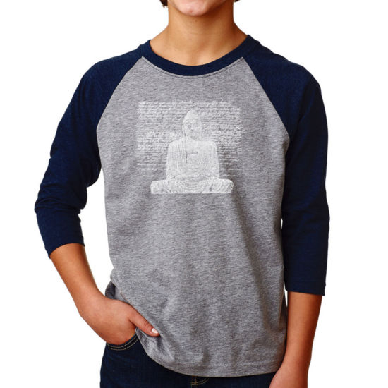 Los Angeles Pop Art Boy's Raglan Baseball Word Art T-shirt - Zen Buddha