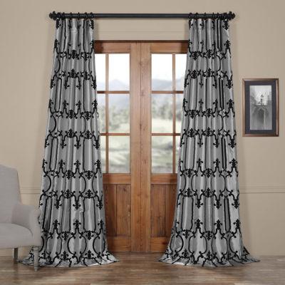 Exclusive Fabrics & Furnishing Royal Gate Flocked Faux Silk Rod-Pocket Curtain Panel