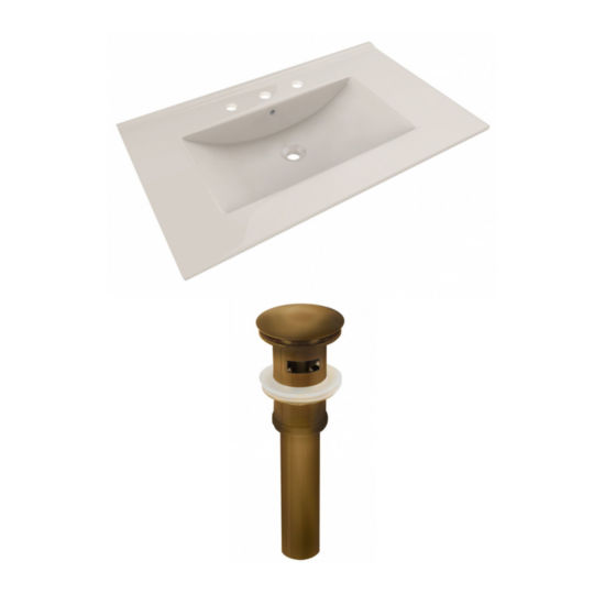 35.5-in. W 3H8-in. Ceramic Top Set In Biscuit Color - Overflow Drain Incl.