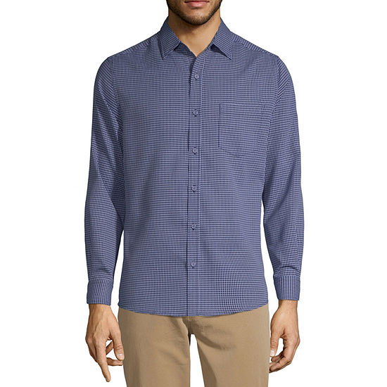 Haggar Tuckless Mens Long Sleeve Diamond Button-Front Shirt