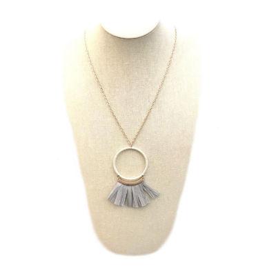 Bijoux Bar Womens Gray Pendant Necklace