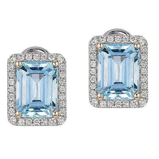 LIMITED QUANTITIES! Effy Final Call 1/4 CT. T.W. Genuine Blue Aquamarine 14K White Gold 10.1mm Stud Earrings