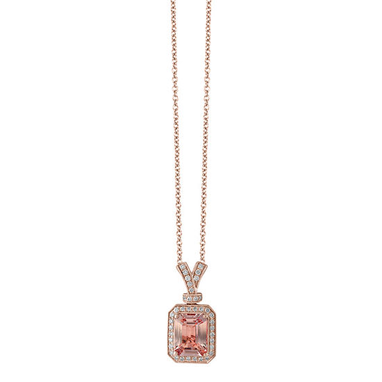 LIMITED QUANTITIES! Effy Final Call Womens 1/5 CT. T.W. Genuine Pink Morganite 14K Rose Gold Pendant Necklace