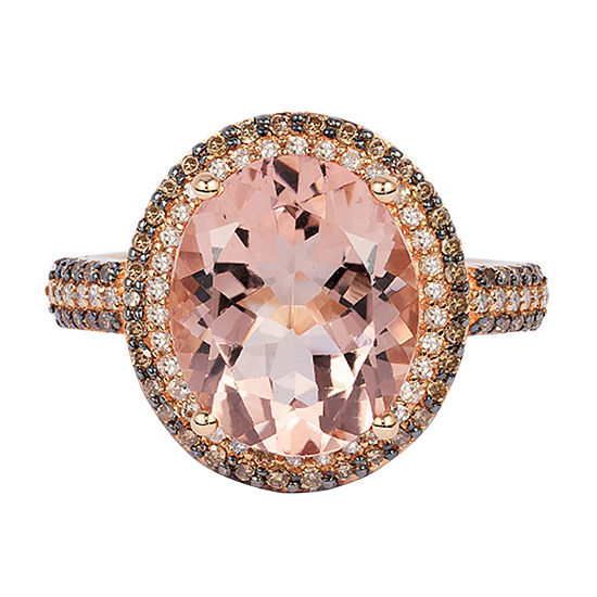 LIMITED QUANTITIES! Effy Final Call Womens 3/8 CT. T.W. Genuine Pink Morganite 14K Rose Gold Cocktail Ring
