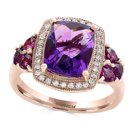 LIMITED QUANTITIES! Effy Final Call Womens 1/7 CT. T.W. Genuine Purple Amethyst 14K Rose Gold Cocktail Ring
