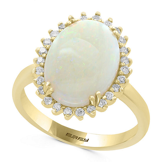 Limited Quantities Effy Final Call Womens 1 4 Ct Tw Genuine White Opal 14k Gold Cocktail Ring