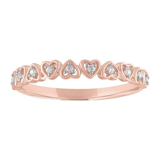 Diamond Accent Genuine Diamond 10K Rose Gold Heart Band