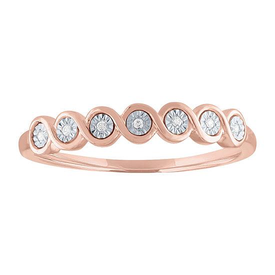 Diamond Accent Genuine Diamond 10K Rose Gold Band