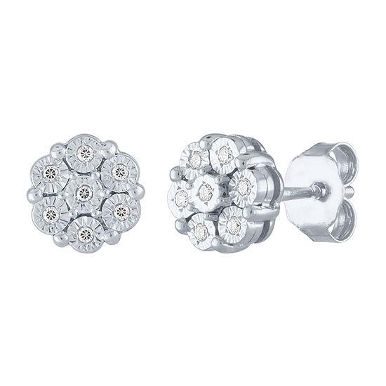 Diamond Blossom Diamond Accent Genuine Diamond 10K White Gold Stud Earrings