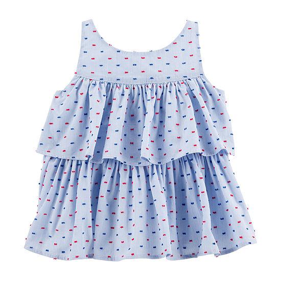 Oshkosh Girls Round Neck Sleeveless T-Shirt-Baby