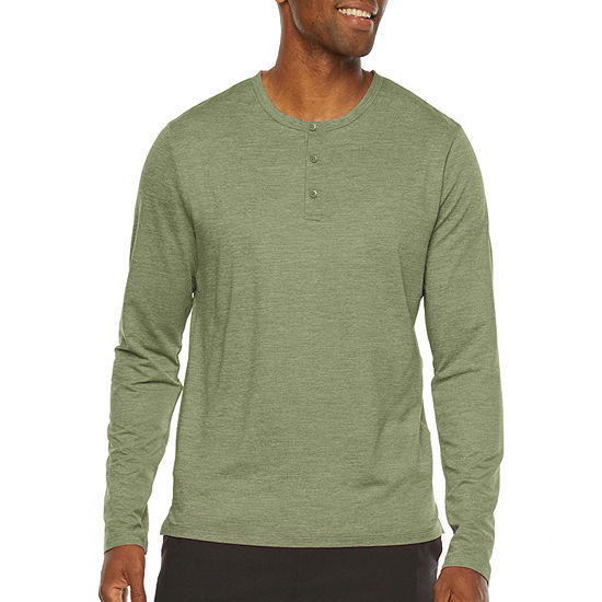 Stylus Mens Stretch Long Sleeve Henley Shirt