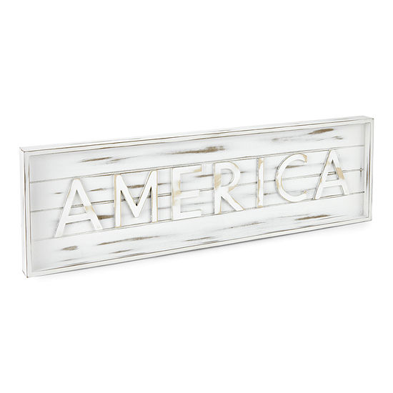 Americana 30X9 White Plank Embossed Wall Art