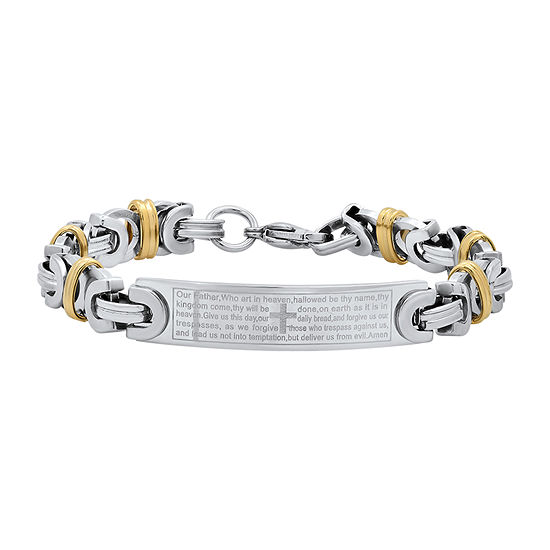 Steeltime 18K Gold Over Stainless Steel 8 Inch Solid Byzantine Id Bracelet