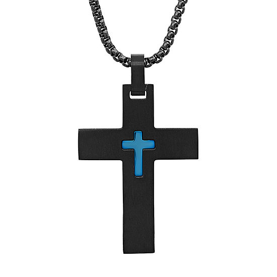 Steeltime Mens Stainless Steel Cross Pendant Necklace