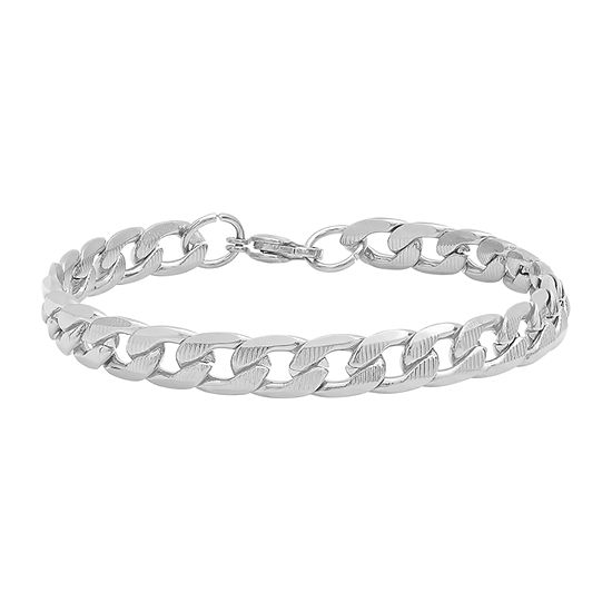 Steeltime Stainless Steel 8 1/2 Inch Solid Cuban Link Bracelet