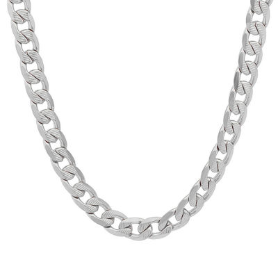 Steeltime Mens 24 Inch Stainless Steel Link Necklace