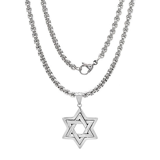 Steeltime Mens Stainless Steel Star Pendant Necklace