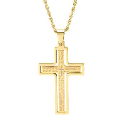 Steeltime Mens 18K Gold Over Stainless Steel Cross Pendant Necklace