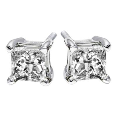 1 CT. T.W. Princess-Cut Genuine Diamond Stud Earrings