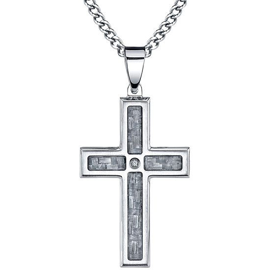 Mens Diamond-Accent Stainless Steel Cross Pendant Necklace