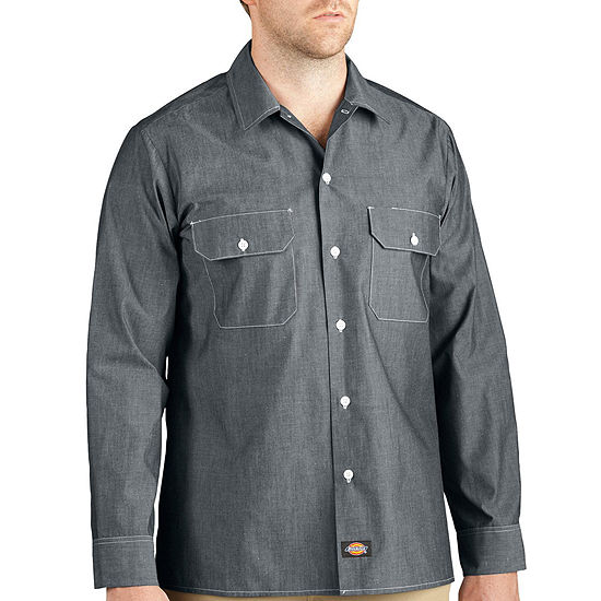 Dickies® Relaxed Fit Long Sleeve Chambray Shirt