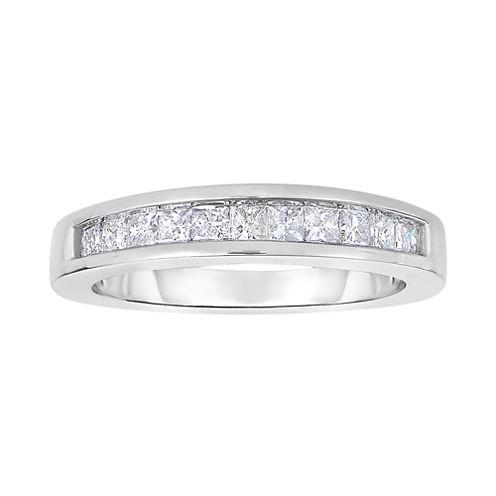1 CT. T.W. Diamond 10K White Gold Princess-Cut Band Ring