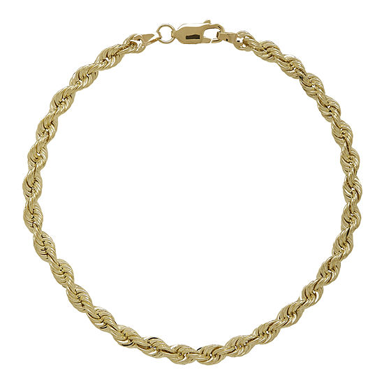 "10K Yellow Gold 8½"" Hollow Rope Chain Bracelet"