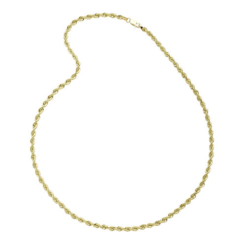 """10K Yellow Gold 22"""" Hollow Rope Chain Necklace"""