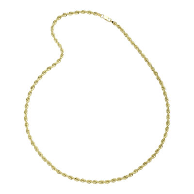 "10K Yellow Gold 22"" Hollow Rope Chain Necklace"