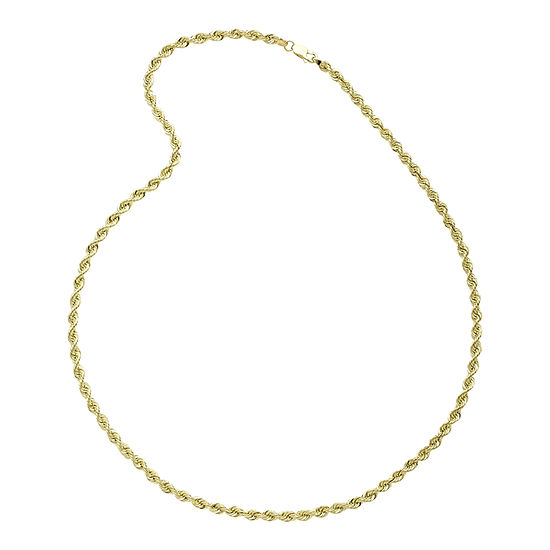 """10K Yellow Gold 24"""" Hollow Rope Chain Necklace"""