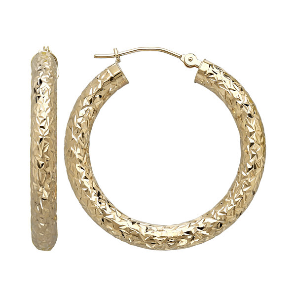 14K Yellow Gold Crystal-Cut Hoop Earrings