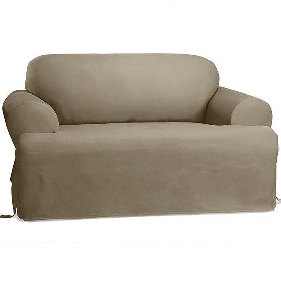 Fantastic Sure Fit Cotton Duck T Cushion Sofa Slipcover Short Links Chair Design For Home Short Linksinfo
