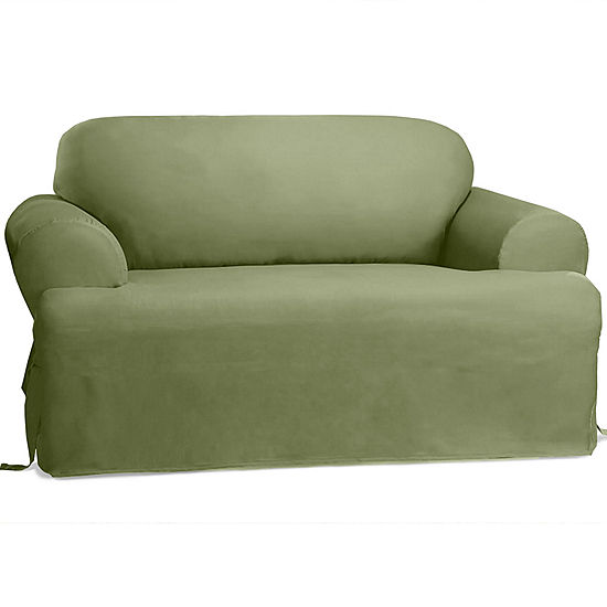 Sure Fit Cotton Duck T Cushion Sofa Slipcover