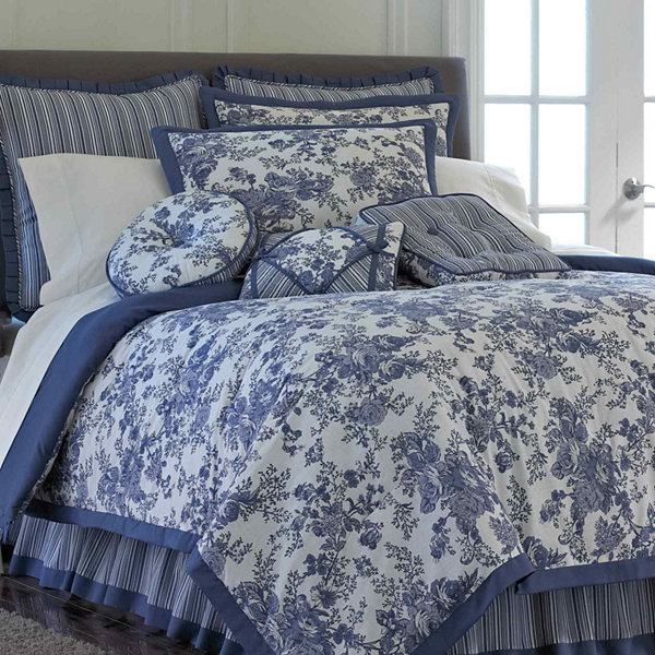 Toile Bed Skirts Part - 19: Toile Garden Comforter Set